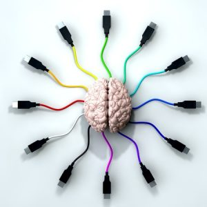13829474 - a human brain with multi-colored usb cable extending and reaching out from its center